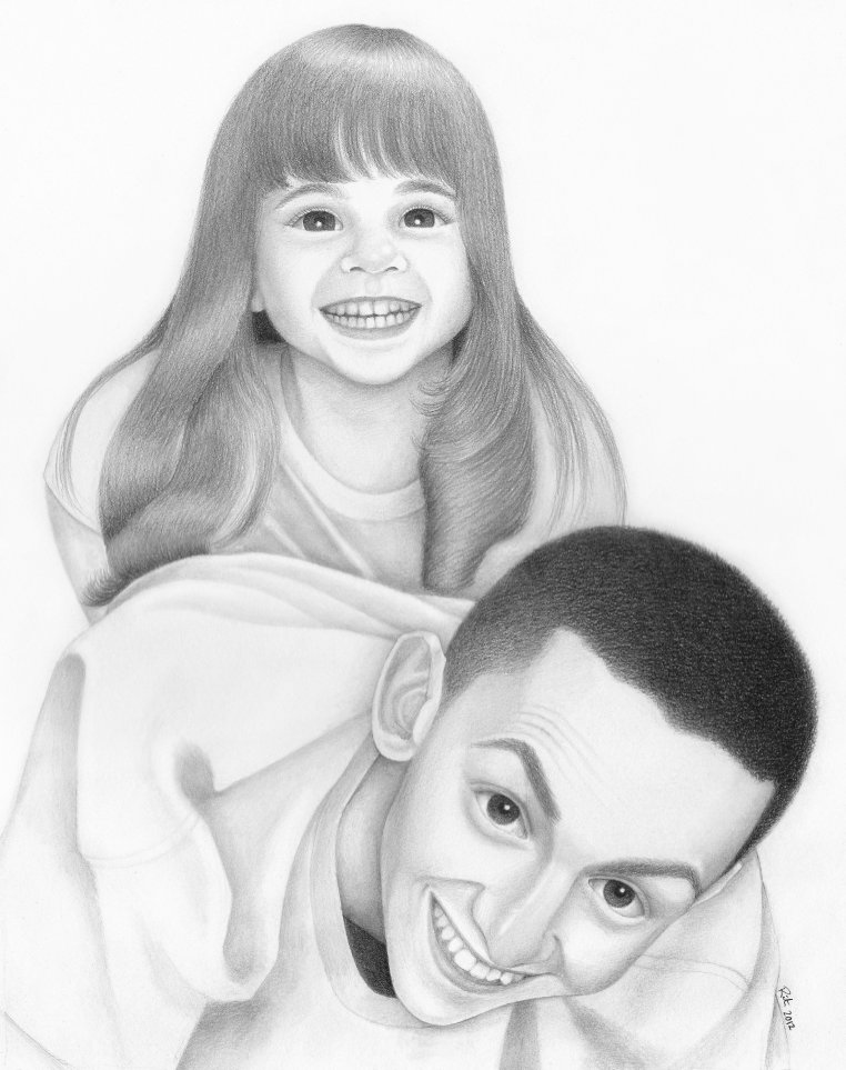 father and daughter portrait drawing black and white